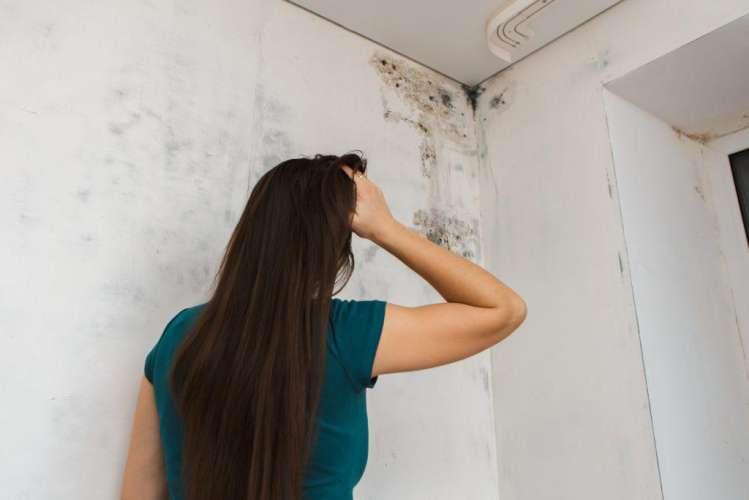 woman looking at mold
